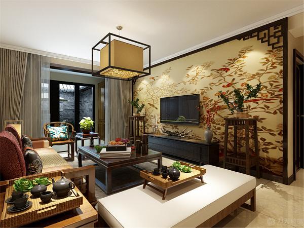 该户型主要的设计风格是中式风格,用各种不同质地的木材不同的造型凸显主人的内涵,而且给人一种书香世家的感觉。