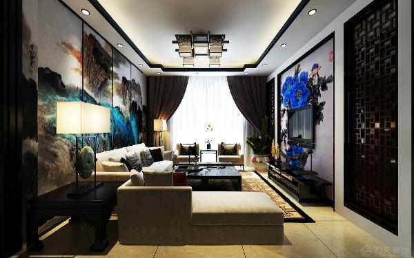 在沙发背景墙选择中式特有的山水画做装饰,电视背景墙也同样选择中式花开富贵来修饰搭配中式的红木家具搭配偏现代的布艺沙发,把现代中式风格展现的淋漓尽致。