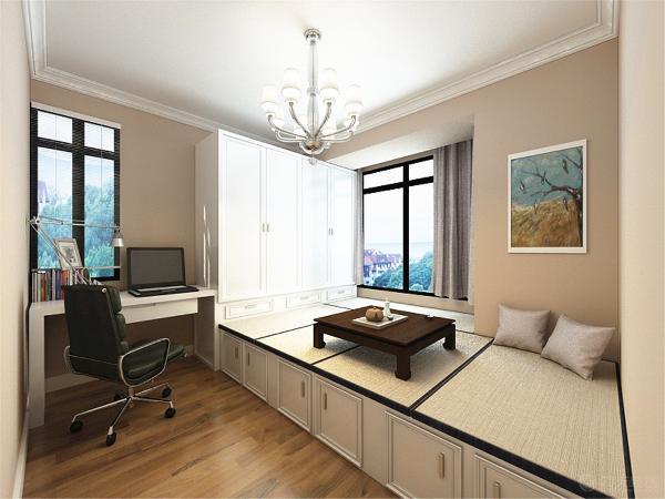 顶面同主卧室一样是白色乳胶漆加一圈80石膏素线,地面偏黄的实木复合地板。