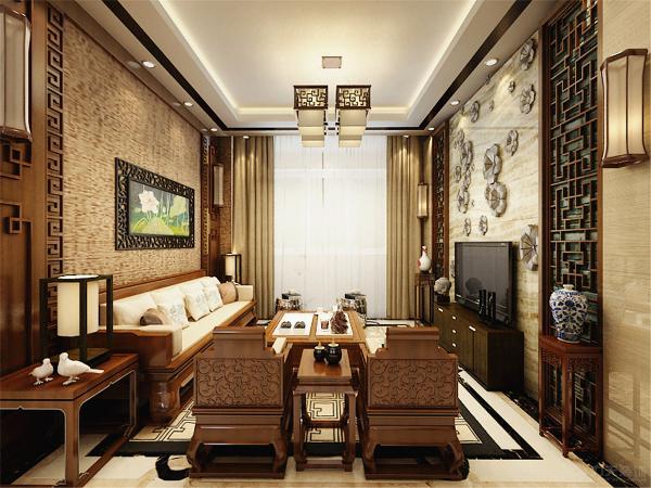 客厅的回行吊顶设计在中间使用了木质的回行作为装饰,同时?沙发背景墙,还有电视背景墙的设计,我们同样采用了木质的装饰框做了造型,