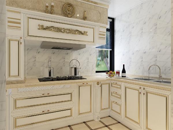 厨房门正对着餐桌,用吊顶和沙发背景造型使空间进行合理的划分。