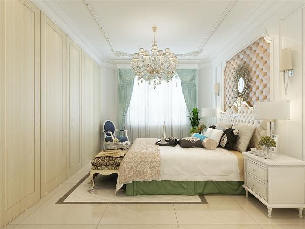 主卧的一面墙做成了隐形的衣柜。显得干净利落。床头用软包做装饰,挂一装饰品,两边加上两盏壁灯,作为辅助光源。