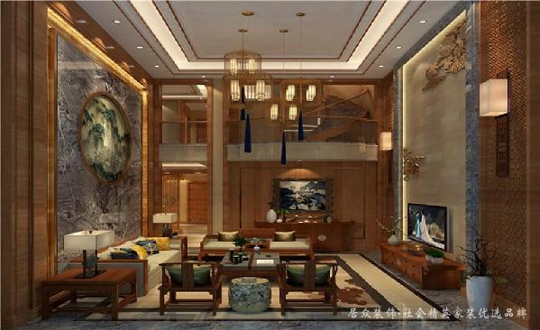 客厅以沙发为中心,散发至家具、灯饰、挂画、雕花、摆件等,以整体的形式设计体现出一种庄重、典雅、尊贵。