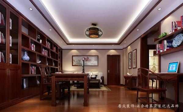 业主是一位对设计有苛刻要求的香港客户,房子主要用来度假用,喜欢舒适放松且不失华丽的感觉。书房设计十分雅致。