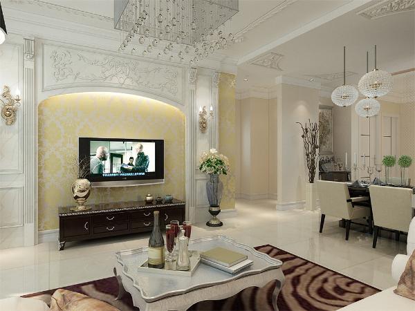 整个空间的装饰中客厅是重点设计的对象,电视背景墙,