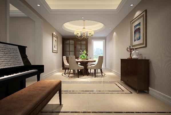 玄关尽头放置胡桃木色端景柜简单大方,又使得餐厅和客厅空间得到区分,地面的两圈波打线进一步细化空间分区,使整体空间感更强区域划分更为规整。