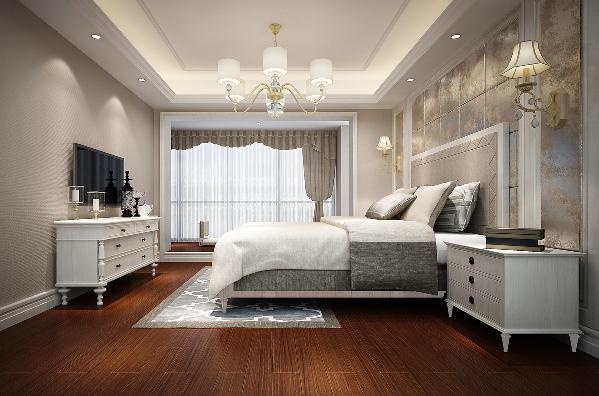 主卧原始空间较大,地台地面稍高于卧室地面,抬高处立面利用卧室踢脚线(白色)进行封边使得卧室空间整体更加完整协调,地台的设置使得主卧空间分区更为明确,而且地台与卧室地面的高差更利于业主在此处的休憩。