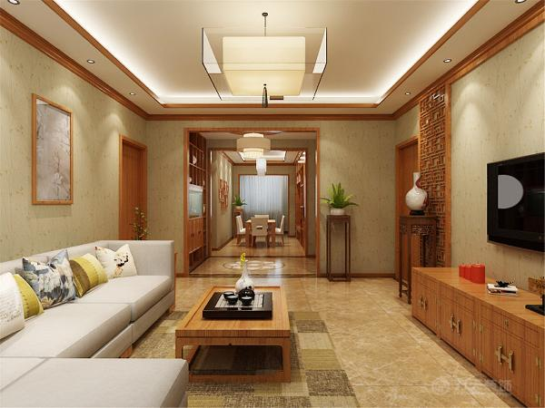 在客厅墙体转折处设计了一个低的储物柜,增加了收纳功能也是空间变的更规整。