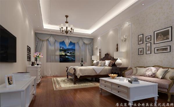 主卧设计主要以墙面乳胶漆硬装的主要材料,配上美式田园的家私,整套设计轻硬装重软装的装饰效果让整个空间更加温馨。