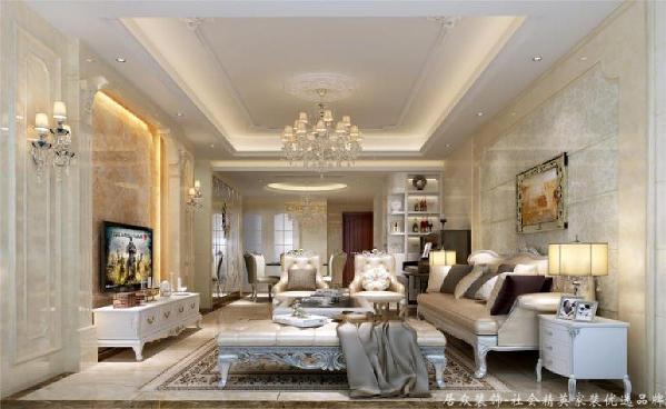客厅暖调的皮质沙发、玫瑰金线条、宝蓝的落地窗帘,电视墙两侧的将军罐令人仿佛来到了19世纪的欧洲,感受法兰西贵族的激昂人生。