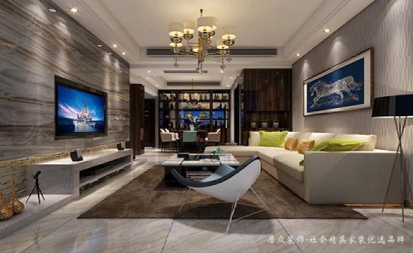 客厅轻松舒适且不失华丽的感觉,简约而层次分明,奢华中透露些许低调。