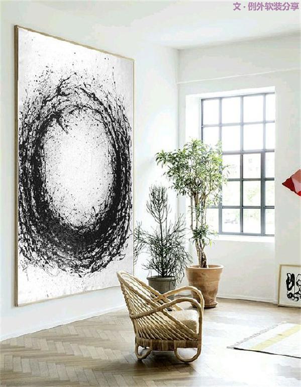 """""""水墨画""""作为一门古老的艺术,自上世纪80年代以来,随着中西艺术的碰撞、对接与互融,抽象水墨画一直以独特的美学意境和艺术形式影响着室内陈设。"""