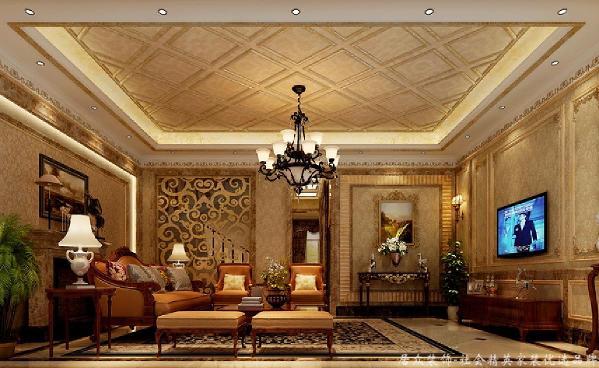 欧式客厅用家具和软装饰来营造整体效果,深色的像木和枫木家具,色彩鲜艳的布艺沙发,都是本案欧式客厅里的主角。
