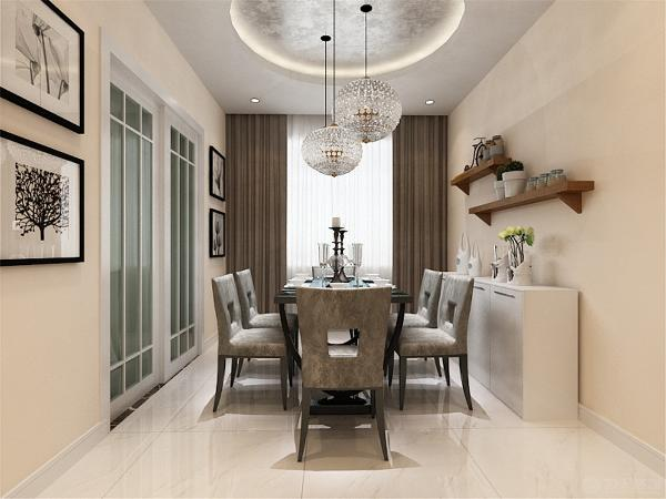 餐厅的吊顶为圆形吊顶加灯带,内贴银箔,餐桌椅为黑灰色,整个色调十分的柔和。餐边柜上面加置了两个横条板,增加储物空间。