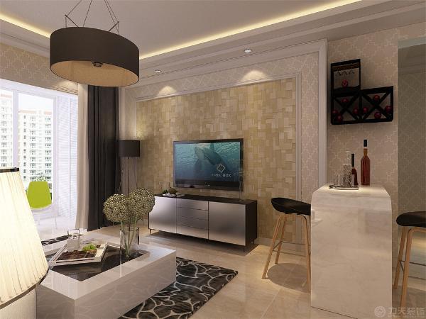在客厅我们选择了银光格子壁纸,电视背景墙选择偏现代的亮光壁纸搭配石膏板造型,简单又不失现代,