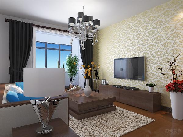 整体空间通铺实木复合地板,客厅墙体为白色乳胶漆,空间显通透,沙发和茶几以及电视柜为胡桃木。环保健康为主题。窗帘为深色布艺,电视墙一侧通铺大马士革壁纸,以黄色调位置的电视背景墙,增加客厅整体空间的色彩。