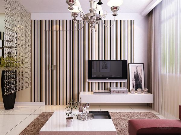 客厅背景墙使用了条纹手绘的方式,体现了现代风格时尚气息,主卧室的门做了隐形门的设计,沙发使用了枣红色作为提亮点,沙发背景墙做了简单的装饰画设计。