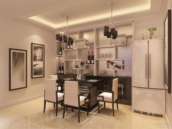 在餐厅的设计中,采用了黑白的餐桌椅搭配黑白的餐灯。白色和明亮玻璃的结合创造出了现代的洁净与明亮。