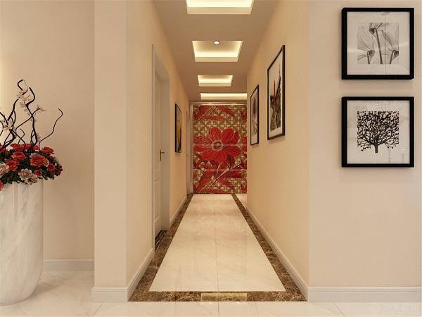 沙发背景墙用一组时尚的挂画装饰。电视背景墙带有简单的造型,白色砖两边各内嵌一条茶镜。