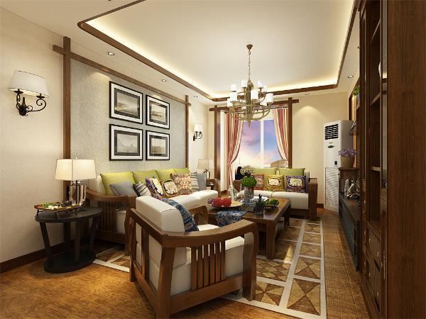 整个空间以暖色系为主,通贴黄色暗纹壁纸。客厅和餐厅均使用回字形吊顶,内圈一圈木线和整体颜色搭配,内安放发光灯池。