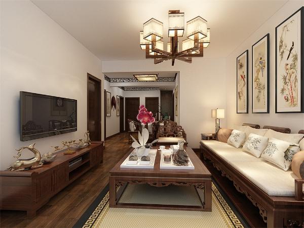 空间的风格整体色调为暖色,客厅设计讲究的是稳重,深褐色的木纹电视柜、茶几,使得整个空间稳重大方。
