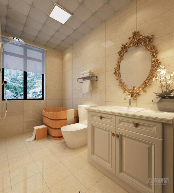 卫生间贴暖色墙砖,尽显欧式奢华。