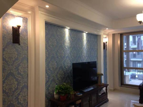 实创装饰-思念果岭147平美式风格完工实景照片-客厅电视背景墙