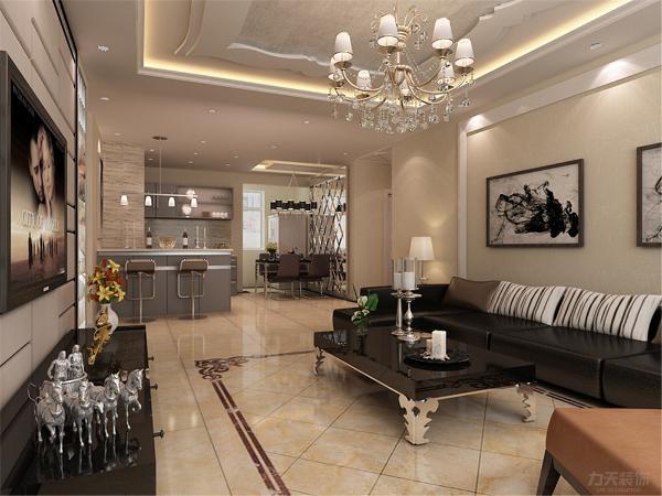 客厅背景墙采用中间软包加两边车边镜造型大气沉稳,沙发背景墙采用米色乳胶漆白色亚克力圈边,地面瓷砖拼花,顶面花边型的吊顶使整体感觉更奢华。