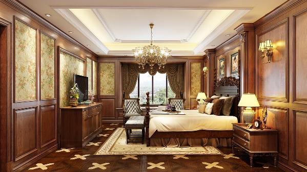 简约美式开放茶色实木卧室