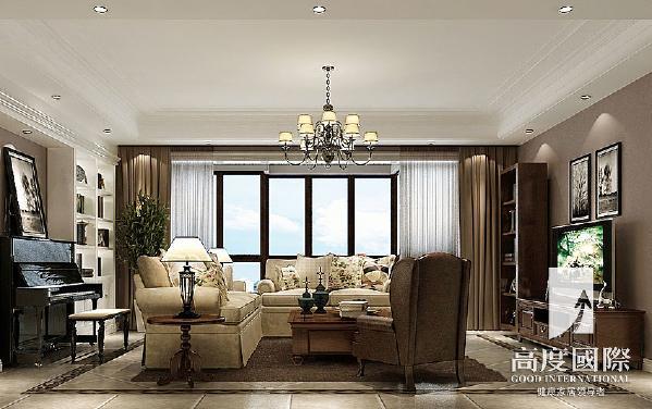 九龙仓御园-190平方米-简约美式-客厅