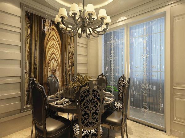 餐厅吊顶则为正统的圆形顶,美观、灵动、线条优美,背景墙两侧为横条纹凹凸清晰的造型,中间是一张大挂画,以简单的照片墙挂画加以点缀。