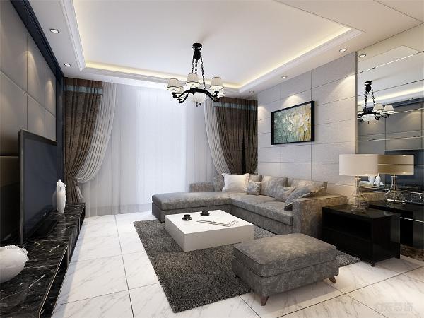 客厅的沙发背景墙采用软包装饰,并配有壁画,简单而美观。