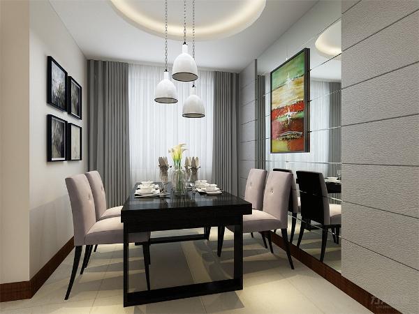 餐厅采用圆形吊顶,餐厅吊灯与客厅相呼应,餐厅背景墙安装玻璃反光造型,增加空间内采光,凸显时尚元素。