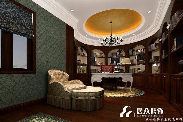 走进书房,仿佛走进中世纪古堡的藏书室,引入眼帘的是线条流畅而优美的实木书柜与同色橡木地板融为一体,散发出浓厚的书香气息,经典花卉森林绿壁画旁摆设着的罗金色沙发椅,在不经意的低调中流露出奢华品质。