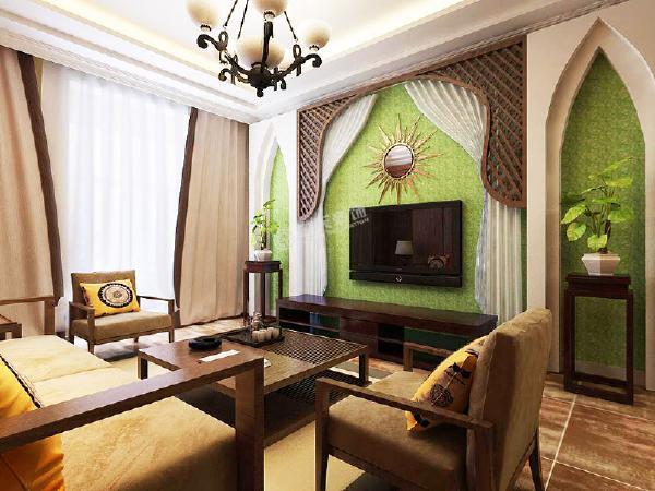 中间利用紗幔与木格的结合,流露出东南亚风格的神秘感,电视上方用太阳镜做装饰,也极具东南亚风情。