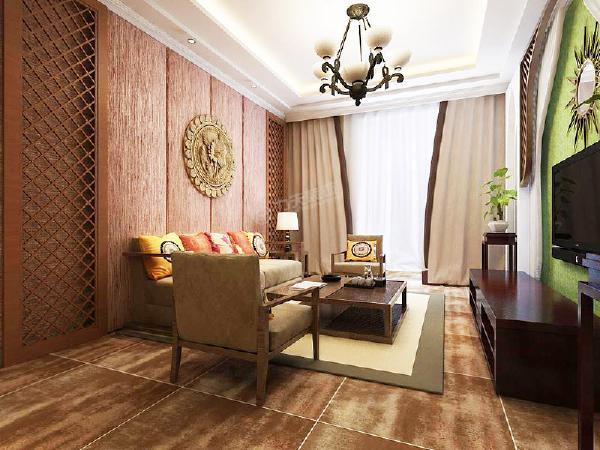 家具选用了古木色,低调沉稳,电视背景墙两侧是呈现一种尖头的形状,体现了宗教里积极向上的理念,中间利用紗幔与木格的结合,流露出东南亚风格的神秘感,电视上方用太阳镜做装饰,也极具东南亚风情。