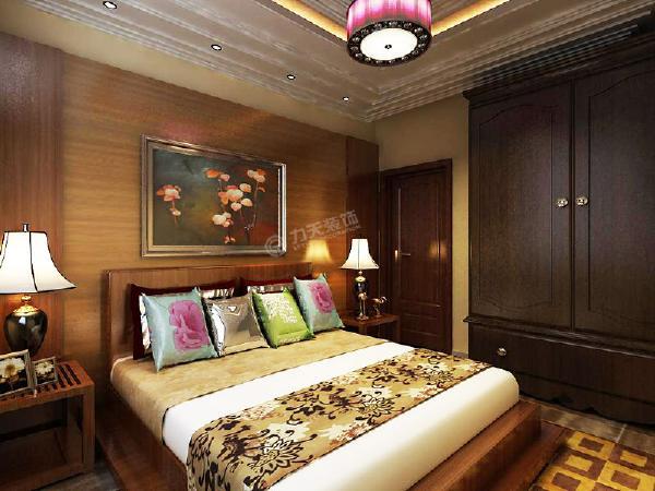 卧室同样延续了客厅的风格,抱枕艳丽,大部分装饰都是木质,吊灯也是很符合此风格,使整个卧室看起来温馨舒适。