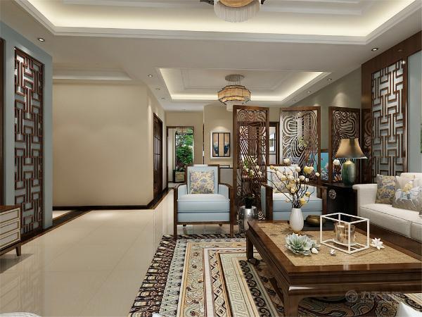 布局上客厅很大所以采用了U型家具排布,按照中国传统对称的方法用电视墙与沙发墙的画作为焦点将其串联起来。