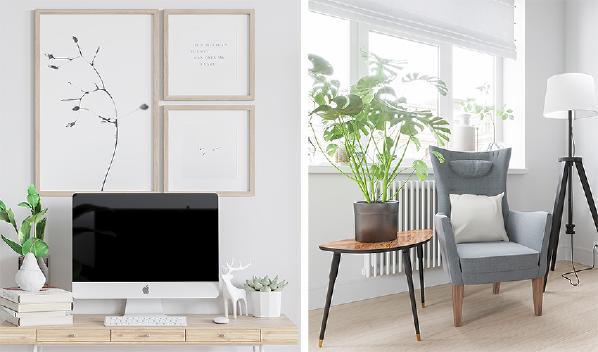 简简单单的书桌用做工作台,清新的白色与原木色迎合空间整体色调主题。装饰画仍是最主要的装饰方式。