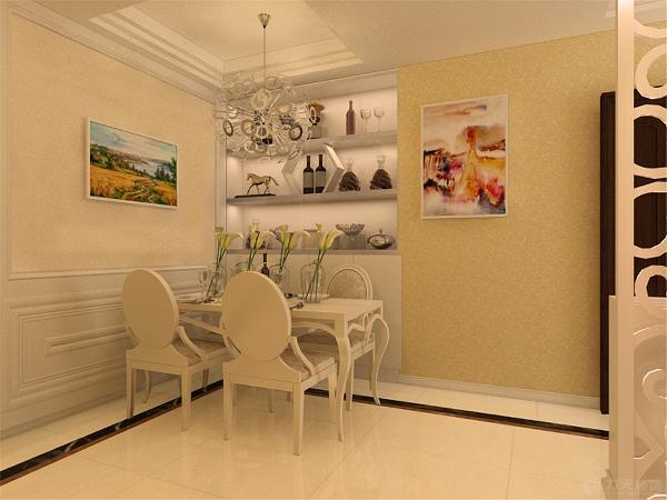 客厅是回字形吊顶加灯带装饰中间是水晶吊灯凸显欧式效果。影视墙采用硬包与石膏板结合,凸显欧式效果又不失大气。