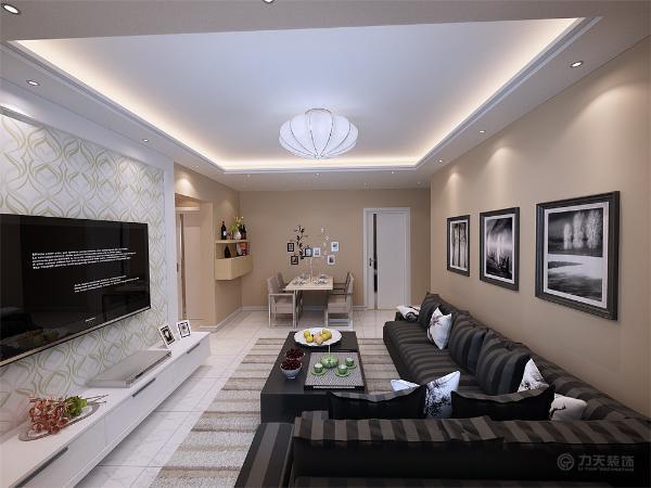 电视,沙发背景墙简洁大方,灯光柔和,让业主可以释放工作中的压力,得到纯粹的放松。简洁的壁画让人感觉更时尚、雅致。