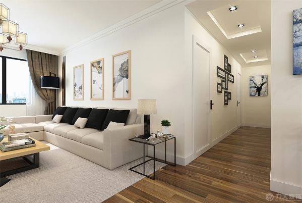 狭长的过道顶面采用200mm宽轻钢龙骨石膏板吊顶墙面粉刷白色乳胶漆。
