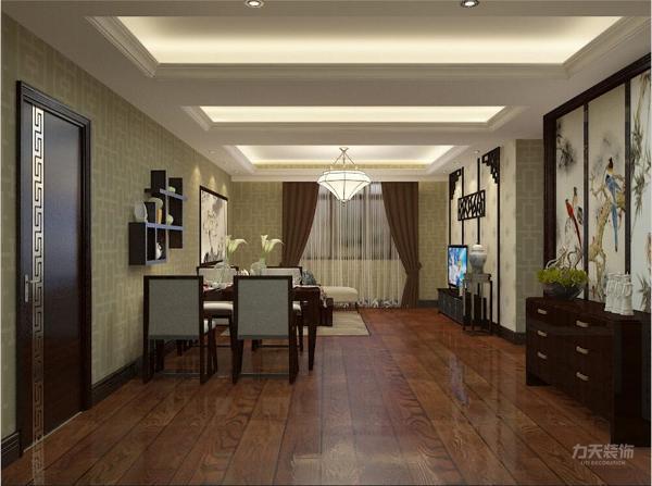 餐桌餐椅的材质都是简洁大方的,沙发使用灰色麻布搭配,配上统一的灰色调靠包,古典花纹的地毯,及深色的木质地板,颜色层次有变化,空间富有层次感,室内氛围和谐。