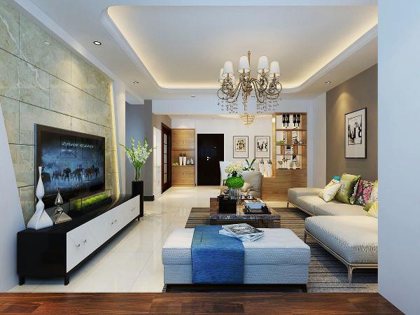 【原木色彩】:在原有白色的空间加入了一些原木色彩,并且在客厅加一个休闲地台,电视墙也换成了更有质感的材质