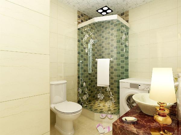 卫生间的合理设计,在里面把花洒进行设计花洒的墙体采用马赛克的墙砖进行铺贴,采用与其他空间不同的墙砖进行铺装,既有利于美感,又能体现独到一处的设计