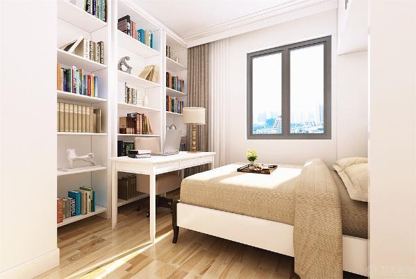 次卧室2采用的是书房和卧室相结合的形式既能居住又能办公。这三个卧室都是原顶刷白色乳胶漆地面实木复合地板墙面白色乳胶漆进行装饰的。