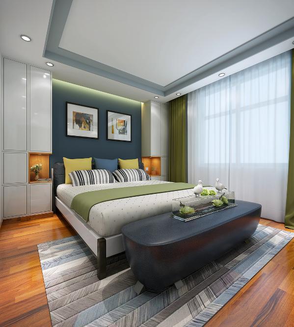 床头柜的设计时卧室空间的亮点,与衣帽间融合为一体,又各具其功能,同时又达到视觉上的对称统一效果。