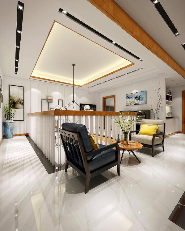 一张樱桃红原木圆形小茶几,充分运用了二楼走廊的有限空间.