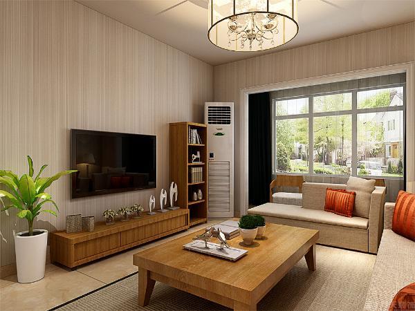 作为茶几以及电视柜的选材上,米黄色的布衣的沙发以及橘色的靠垫这样的搭配给人一种清新自然的感觉,柔软的布衣沙发,体现这宽松大气的体现。