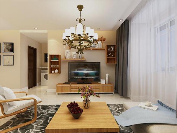 客厅的背景墙只是简的挂了一副挂画加了一个搁板,既简单但又不失品味,沙发选用的是灰色的加上现代感十足的挂画,装饰性强,现代感的金属吊灯,烘托出现代时尚个性的气息。